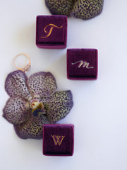 custom monogram rose gold magenta ring box gift