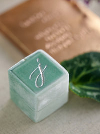 monogram silver traditional green velvet wedding ring box