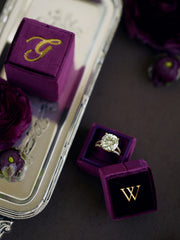 purple velvet ring box gift