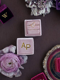 monogram mauve velvet wedding ring box