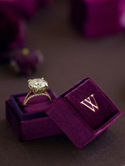 monogram gold band wedding ring box gift
