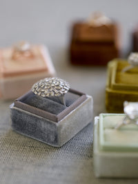 vintage gray velvet wedding ring box