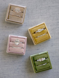 modern colors ring box wedding band round cut halo ring