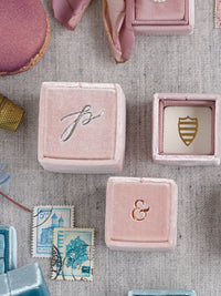 milennial pink blush mauve silver monogram ring box