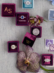 monogram ring magenta box gift