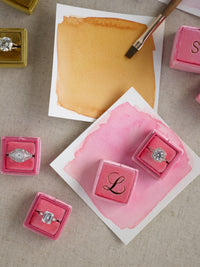bright dark pink velvet wedding ring box