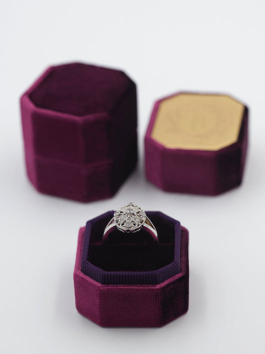 deep purple bevel velvet ring box