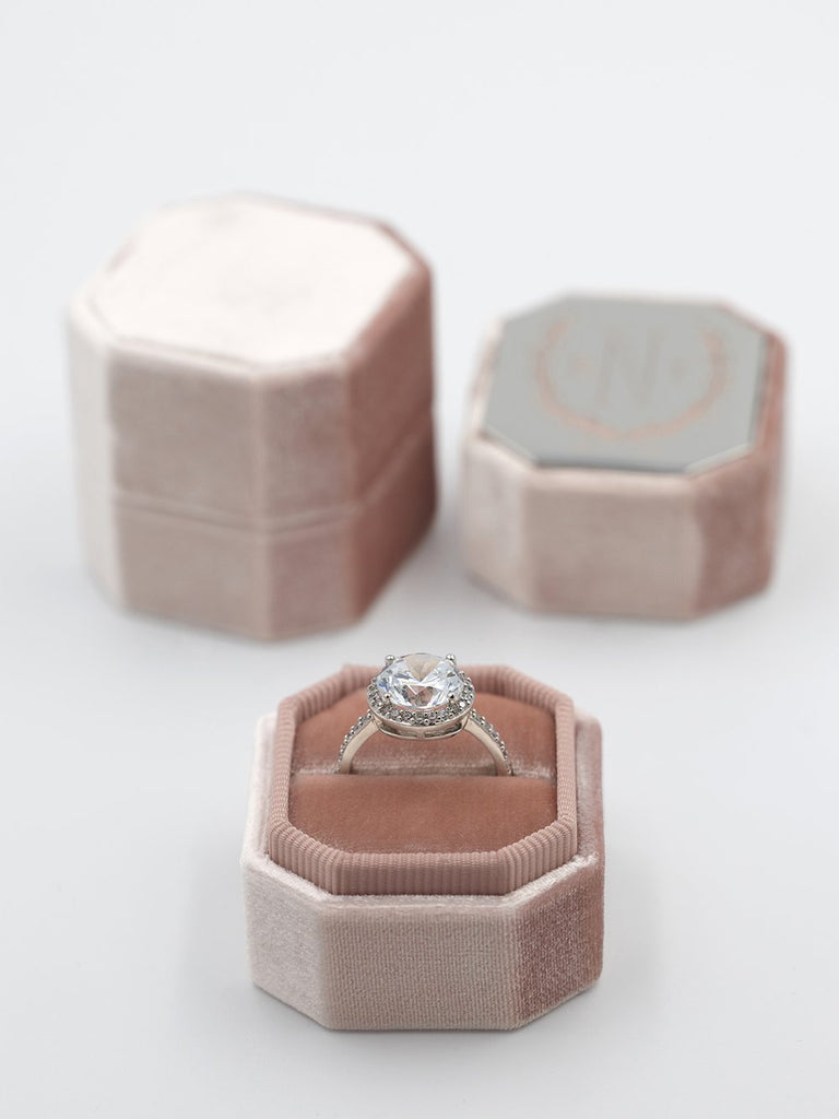 natural rose bevel velvet ring box