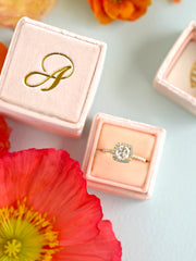 monogram gold engagement gift ring box