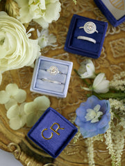 royal blue true blue monogram wedding band ring box