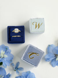 monogram royal blue true blue velvet wedding ring box gift