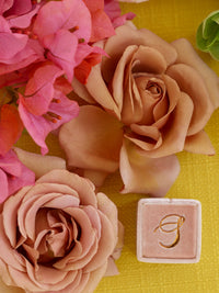 milennial pink blush mauve custom monogram ring box