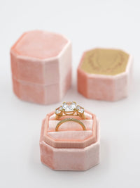 peach velvet bevel ring box