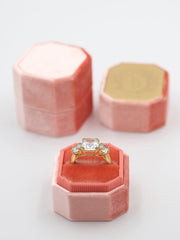 dark tangy pink bevel velvet ring box