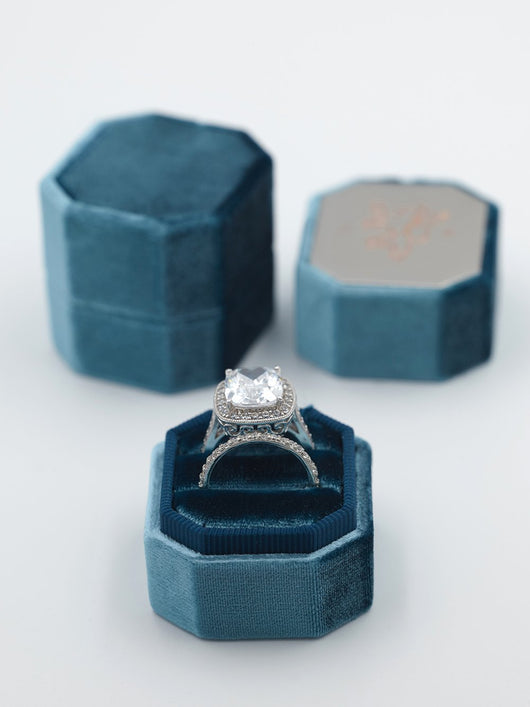 jade green-blue bevel velvet ring box