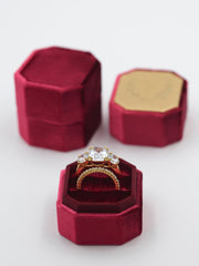 deep red velvet bevel custom ring box