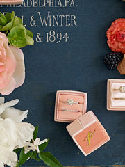 wedding detail photos pink blush ring box double