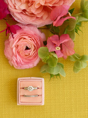 two ring box for engagement and wedding band pink