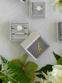 monogram silver velvet wedding ring box engagement gift idea