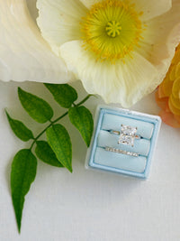 pale blue velvet monogram ring box