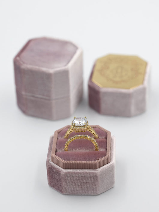 natural mauve velvet bevel ring box metal engrave