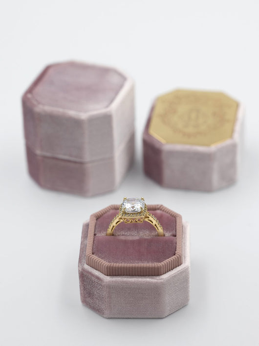 natural mauve velvet bevel ring box