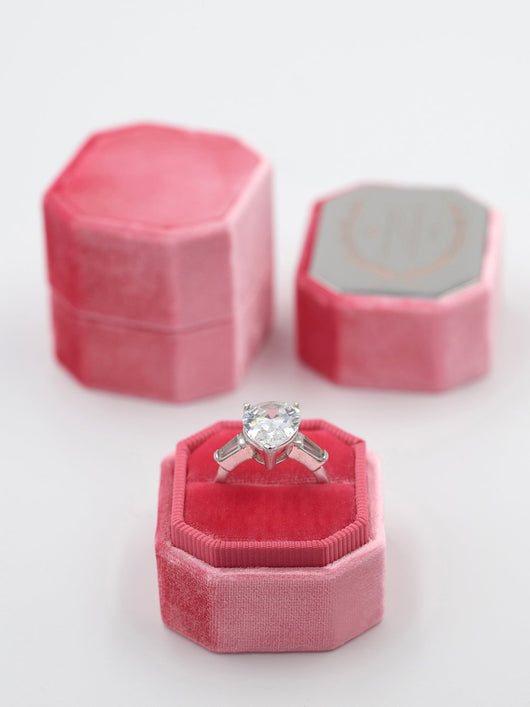 bright pink/red velvet ring box