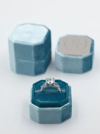 deep teal blue octagon ring box