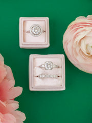 blush pink double ring box for engagements