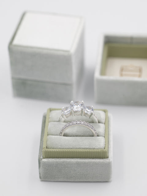 sage green wedding bands velvet box