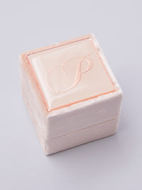 pale pink velvet monogram ring box