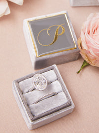 slate grey velvet monogram ring box