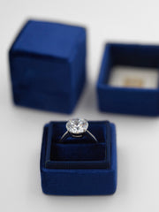 Deep Blue Velvet ring box