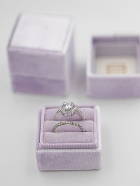 lavender light purple wedding band ring box