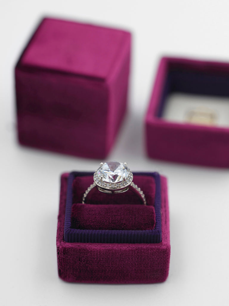 magenta velvet heirloom ring box gift