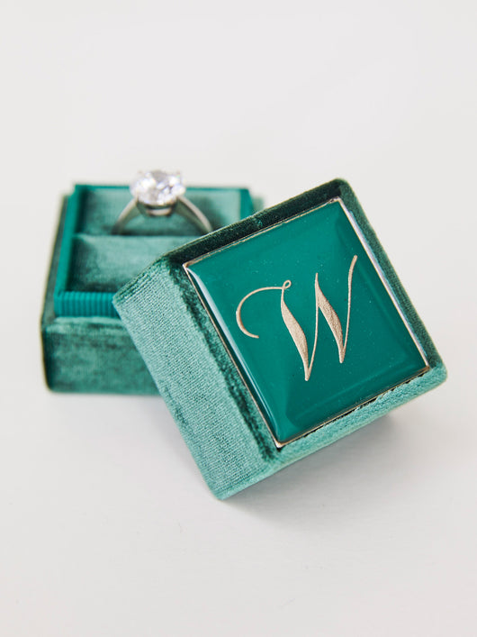 emerald green velvet monogram ring box