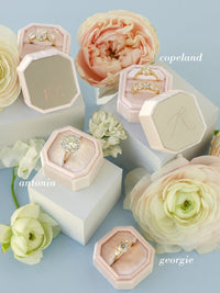 neutral velvet ring box bridal metal engraving top
