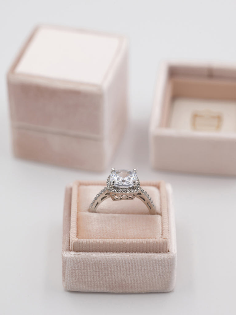 nude velvet wedding ring box