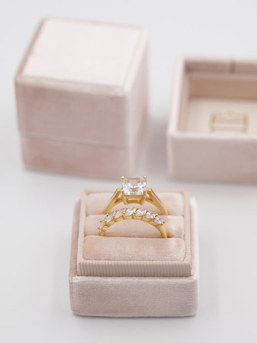 nude wedding ring engagement band box