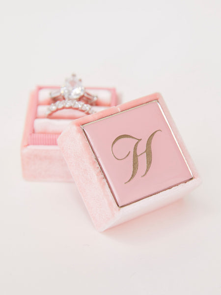 pink velvet engagement monogram box