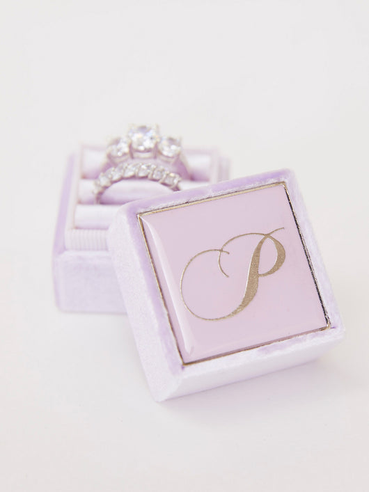 lavendar monogram engagement box