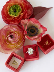 red velvet ring box  monogram gold
