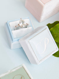 pale blue velvet engagement heirloom ring box