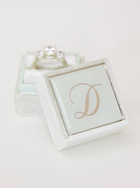 pale mint velvet monogram ring box