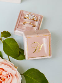light pink monogram engagement ring box