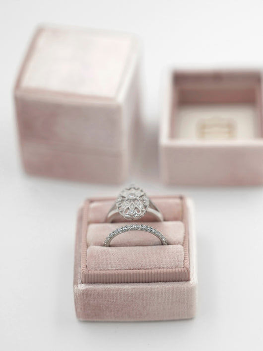 milennial pink blush mauve engagement ring box