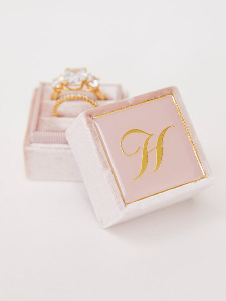 blush pink velvet ring box
