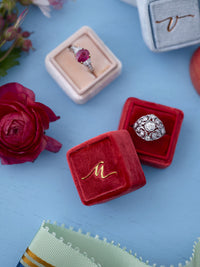 red velvet wedding custom ring box