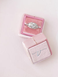 silver baby pink velvet wedding ring box monogram