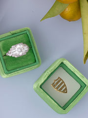 Vintage engagement ring green velvet box